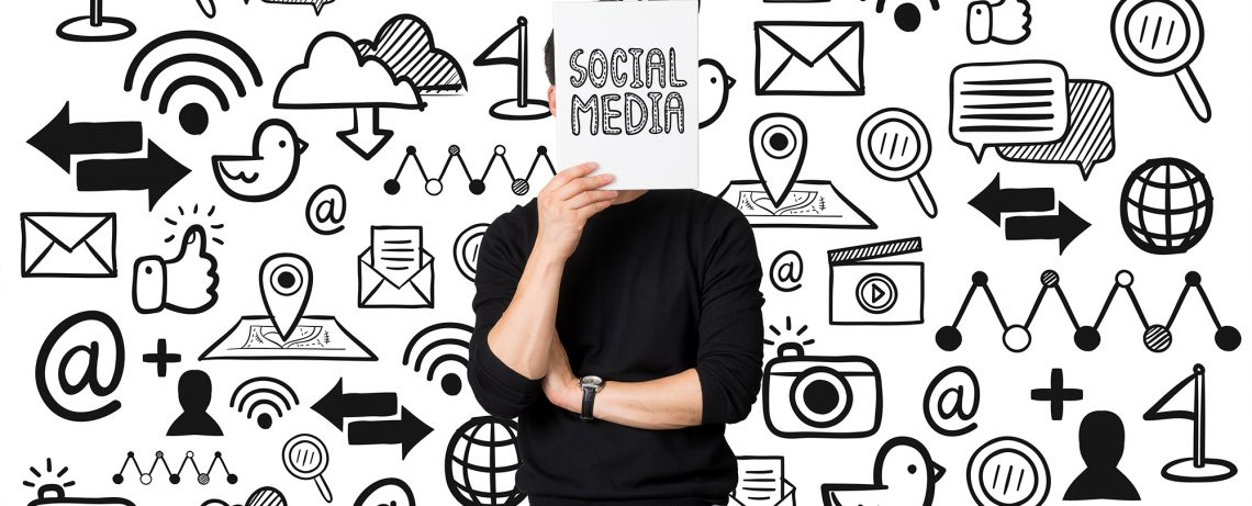 Young businessman present social media communication concept